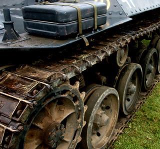WW2 German Panzer 38(t) - detail of tank tracks - History Alive! 2011, Fort Lytton, Brisbane, Australia 110612