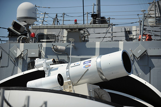 The Laser Weapon System (LaWS) is temporarily installed aboard USS Dewey.