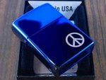 ZIPPO #21055 PEACE ON THE SIDE サファイアブルー