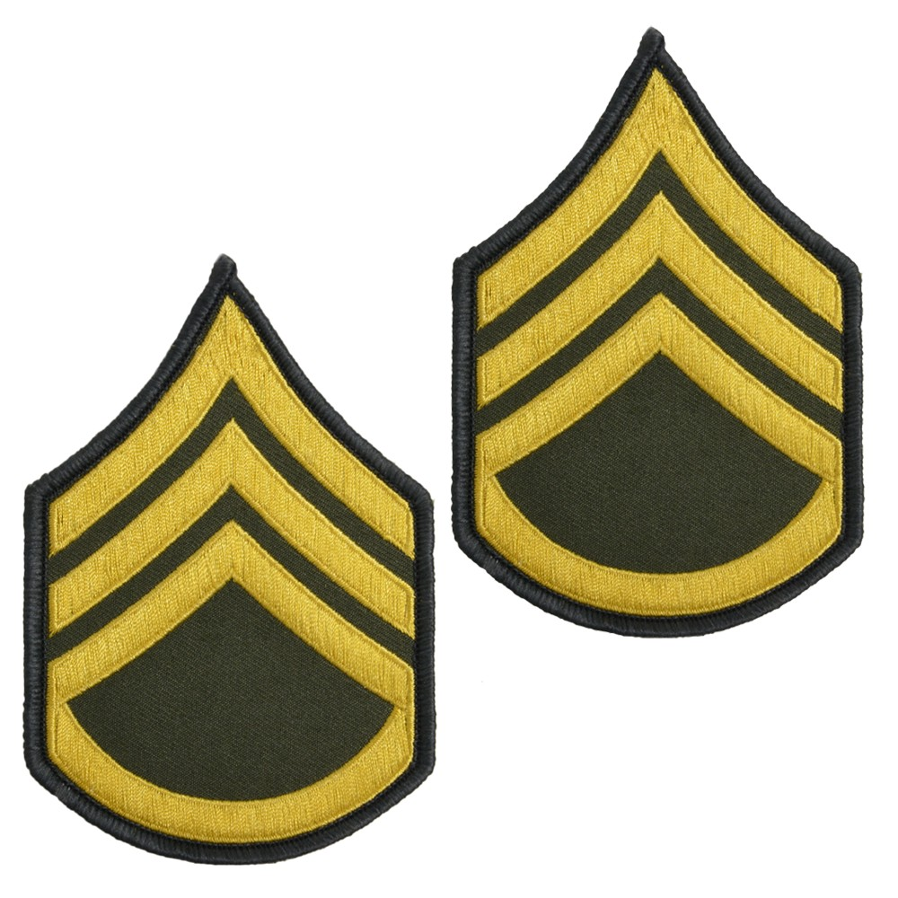 ミリタリーワッペン 2枚組 アメリカ陸軍 階級章 二等軍曹 縫付け